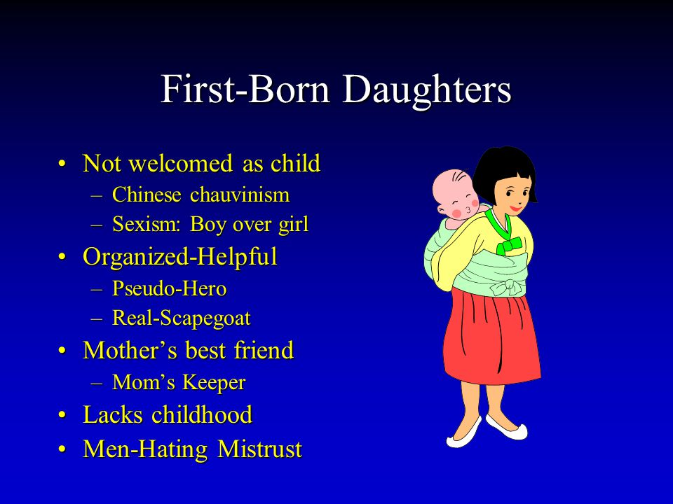 First-Born Daughters Not welcomed as childNot welcomed as child –Chinese chauvinism –Sexism: Boy over girl Organized-HelpfulOrganized-Helpful –Pseudo-Hero –Real-Scapegoat Mother's best friendMother's best friend –Mom's Keeper Lacks childhoodLacks childhood Men-Hating MistrustMen-Hating Mistrust