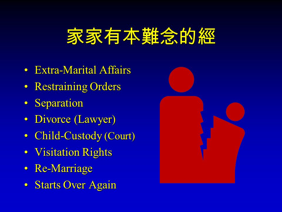 家家有本難念的經 Extra-Marital Affairs Restraining Orders Separation Divorce (Lawyer) Child-Custody (Court) Visitation Rights Re-Marriage Starts Over Again