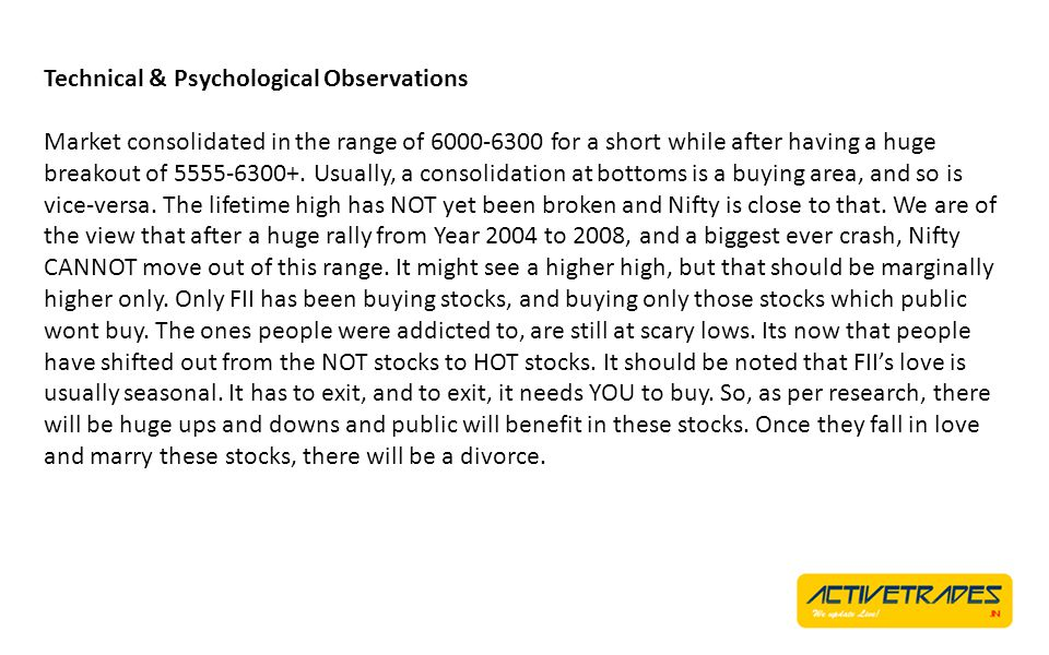 Technical & Psychological Observations Once Nifty creates a fresh high, you will find a lot of investors gushing in.