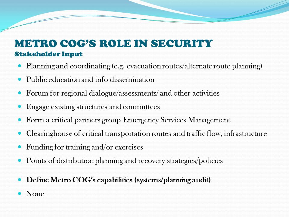 METRO COG'S ROLE IN SECURITY Stakeholder Input Planning and coordinating (e.g.