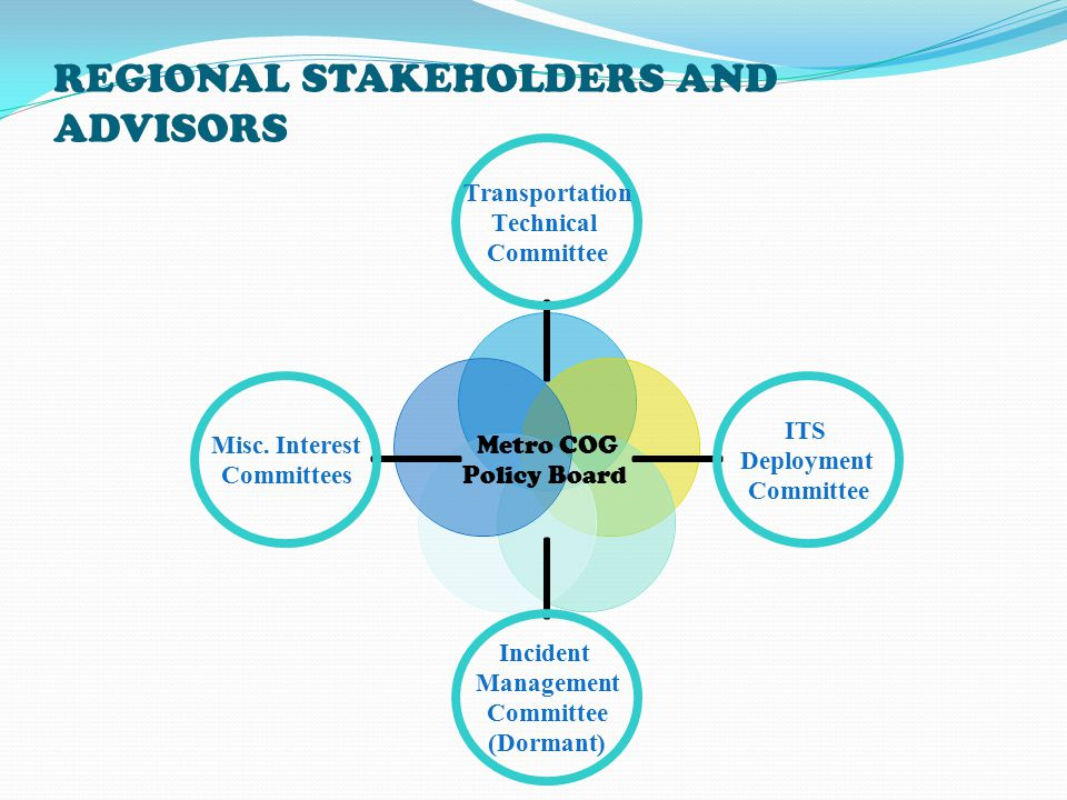 REGIONAL STAKEHOLDERS AND ADVISORS Metro COG Policy Board Transportation Technical Committee ITS Deployment Committee Incident Management Committee (Dormant) Misc.