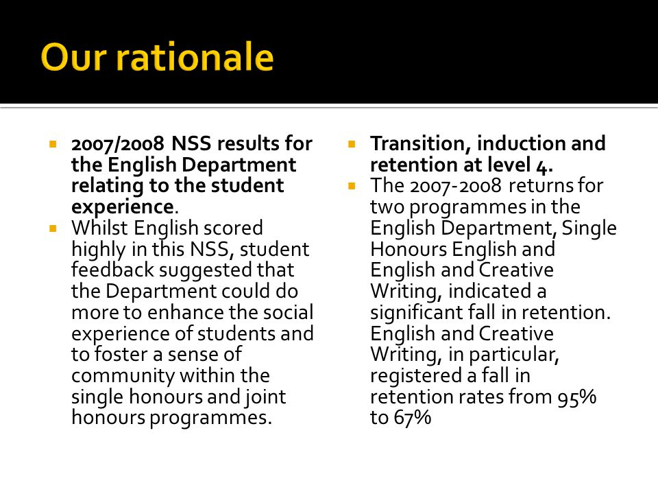  2007/2008 NSS results for the English Department relating to the student experience.