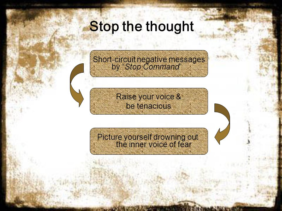 Stop the thought Short-circuit negative messages by Stop Command Raise your voice & be tenacious Picture yourself drowning out the inner voice of fear