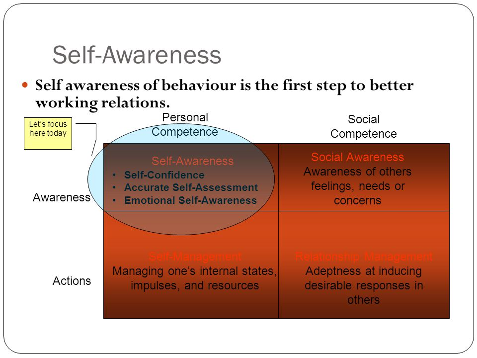 Self-Awareness Self awareness of behaviour is the first step to better working relations. Self-Awareness Self-Confidence Accurate Self-Assessment Emot