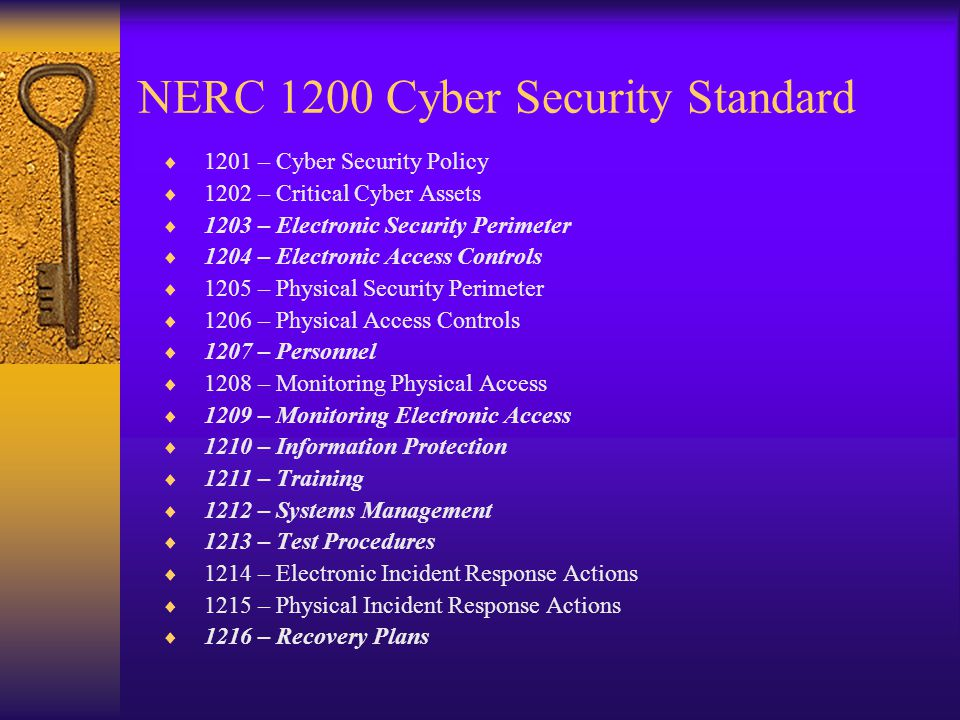 NERC 1200 Cyber Security Standard  1201 – Cyber Security Policy  1202 – Critical Cyber Assets  1203 – Electronic Security Perimeter  1204 – Electronic Access Controls  1205 – Physical Security Perimeter  1206 – Physical Access Controls  1207 – Personnel  1208 – Monitoring Physical Access  1209 – Monitoring Electronic Access  1210 – Information Protection  1211 – Training  1212 – Systems Management  1213 – Test Procedures  1214 – Electronic Incident Response Actions  1215 – Physical Incident Response Actions  1216 – Recovery Plans