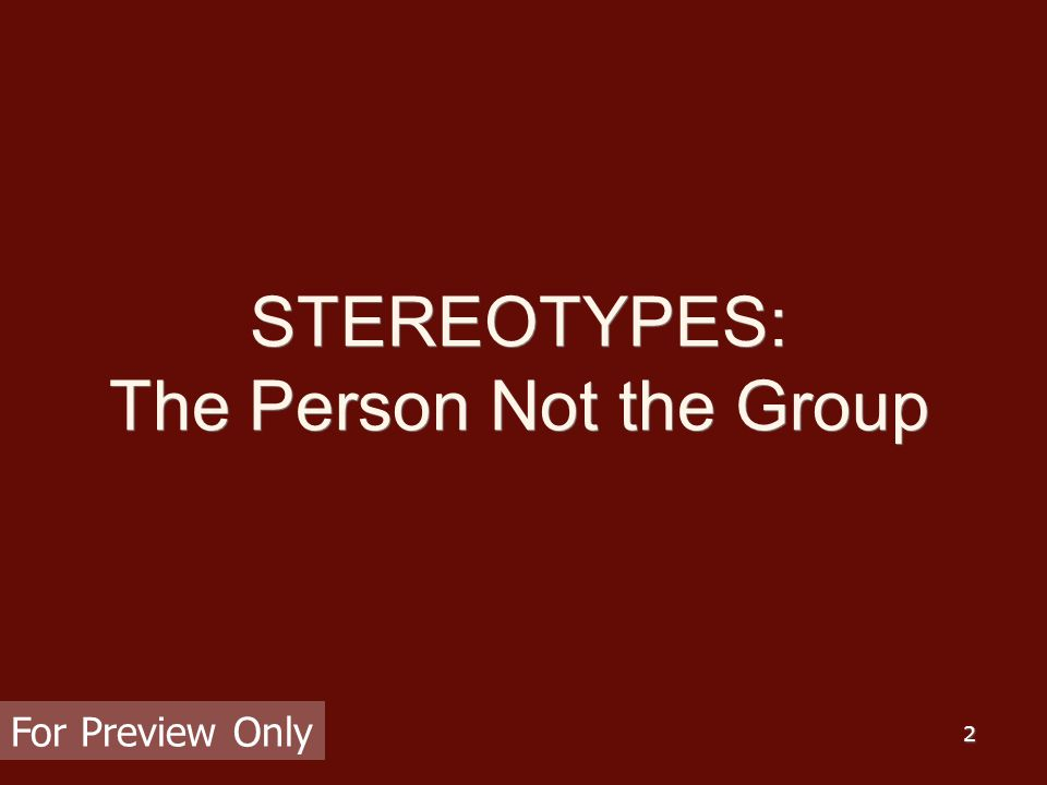 2 STEREOTYPES: The Person Not the Group For Preview Only