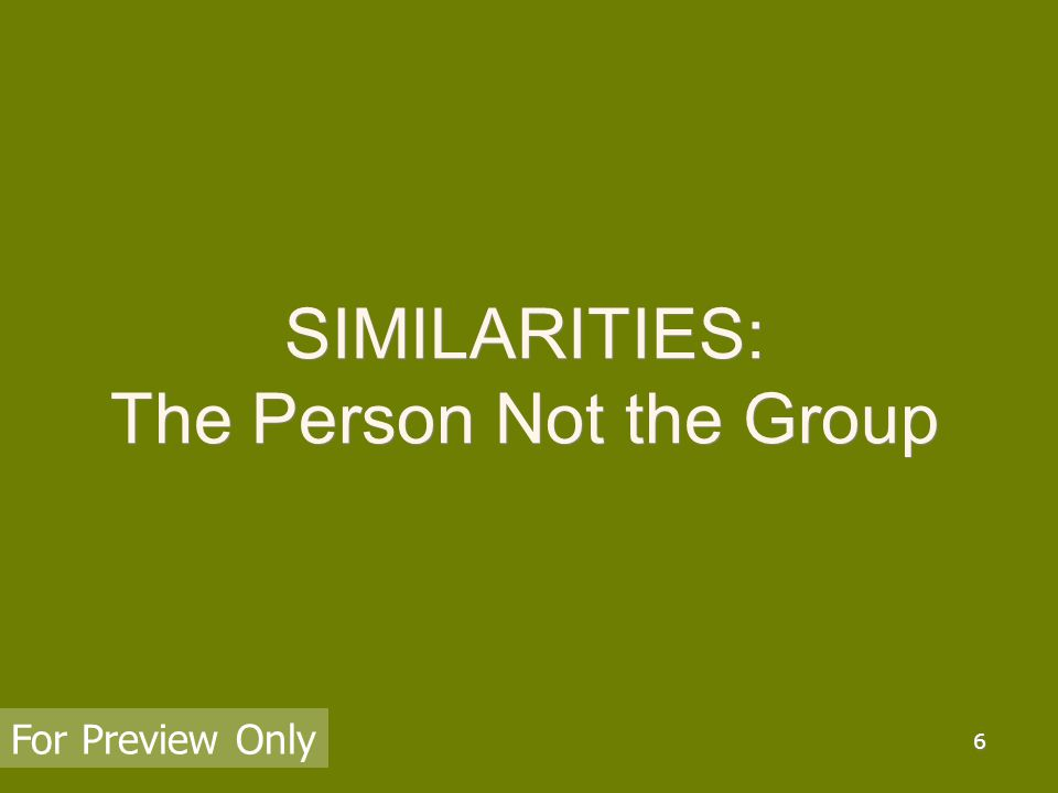 7 SIMILARITIES: Having characteristics in common or alike in substance or essentials and this An aspect, trait, or feature like or resembling another or another s For Preview Only