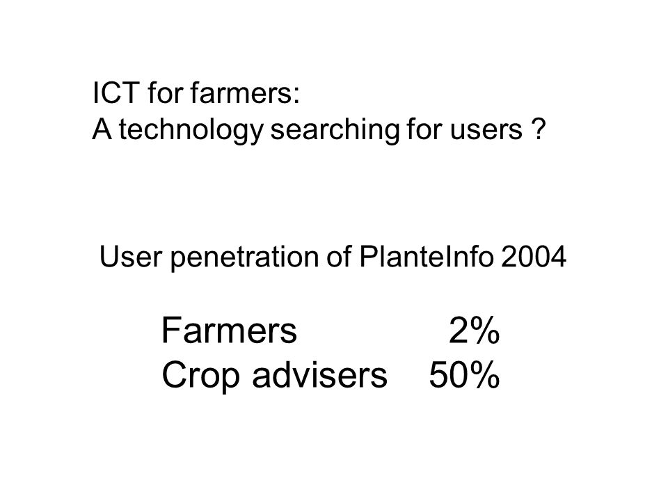 ICT for farmers: A technology searching for users .