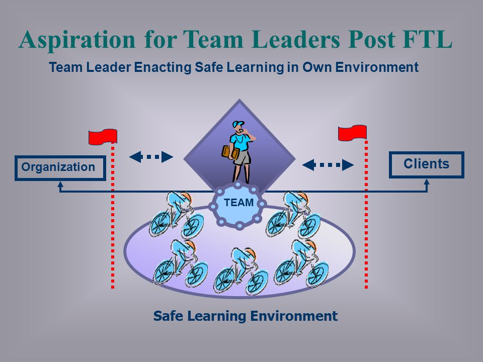 Safe Learning Environment Team Leader Enacting Safe Learning in Own Environment Aspiration for Team Leaders Post FTL Clients Organization TEAM