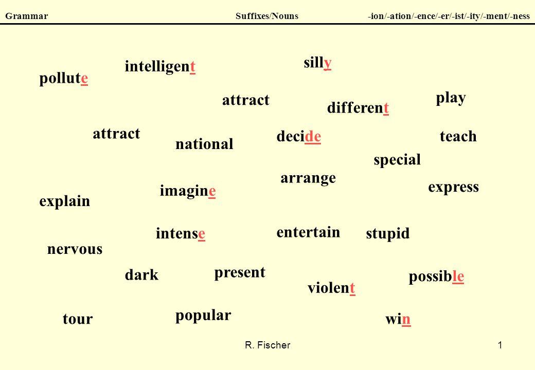 R. Fischer1 GrammarSuffixes/Nouns-ion/-ation/-ence/-er/-ist/-ity/-ment/-ness attract arrange dark different entertain explain attract express imagine