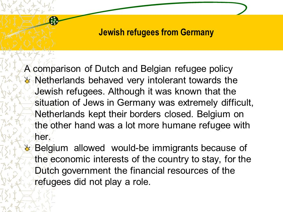 Jewish refugees from Germany A comparison of Dutch and Belgian refugee policy Netherlands behaved very intolerant towards the Jewish refugees. Althoug