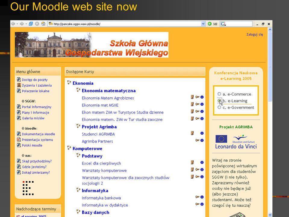 Our Moodle web site now