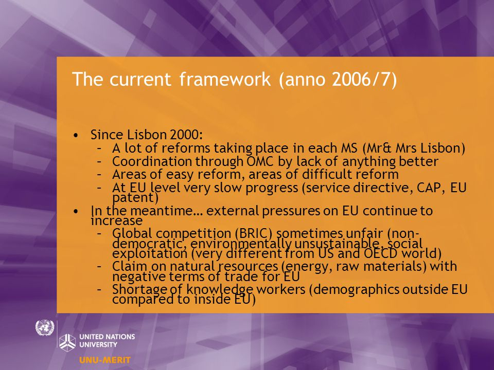 The current framework (anno 2006/7) Since Lisbon 2000: –A lot of reforms taking place in each MS (Mr& Mrs Lisbon) –Coordination through OMC by lack of anything better –Areas of easy reform, areas of difficult reform –At EU level very slow progress (service directive, CAP, EU patent) In the meantime… external pressures on EU continue to increase –Global competition (BRIC) sometimes unfair (non- democratic, environmentally unsustainable, social exploitation (very different from US and OECD world) –Claim on natural resources (energy, raw materials) with negative terms of trade for EU –Shortage of knowledge workers (demographics outside EU compared to inside EU)