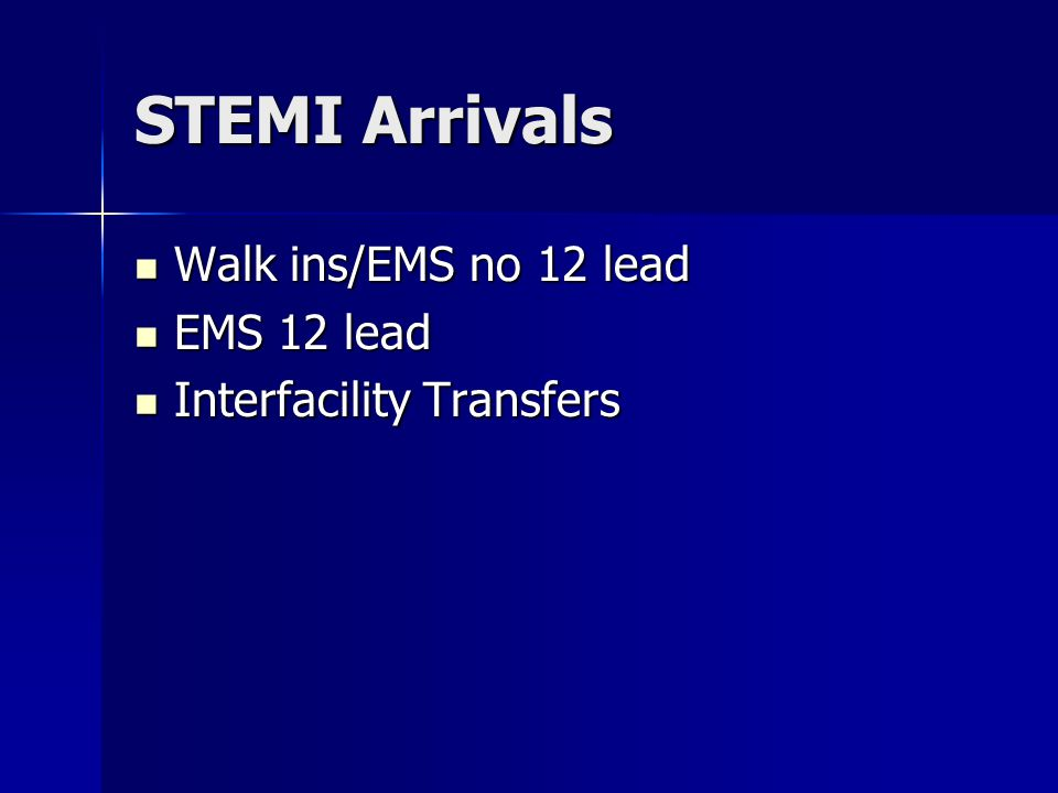 STEMI Arrivals Walk ins/EMS no 12 lead Walk ins/EMS no 12 lead EMS 12 lead EMS 12 lead Interfacility Transfers Interfacility Transfers
