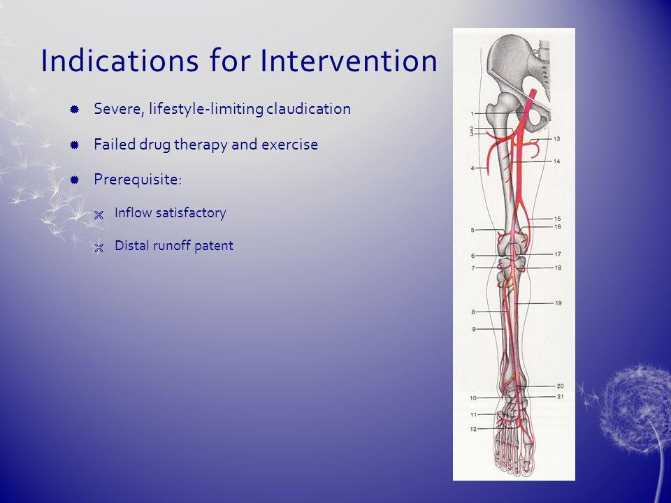 Indications for Intervention  Severe, lifestyle-limiting claudication  Failed drug therapy and exercise  Prerequisite:  Inflow satisfactory  Dist