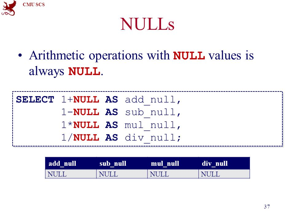 CMU SCS NULLs Arithmetic operations with NULL values is always NULL.
