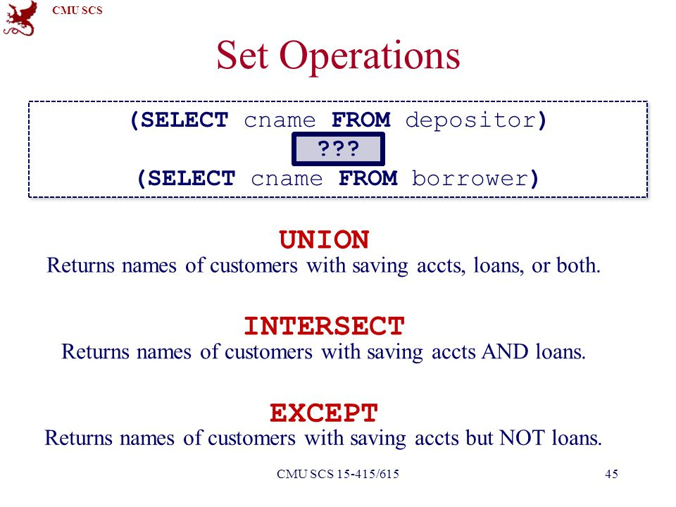 CMU SCS Set Operations (SELECT cname FROM depositor) ??? (SELECT cname FROM borrower) (SELECT cname FROM depositor) ??? (SELECT cname FROM borrower) U
