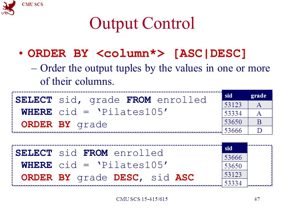 CMU SCS Output Control ORDER BY [ASC|DESC] –Order the output tuples by the values in one or more of their columns.