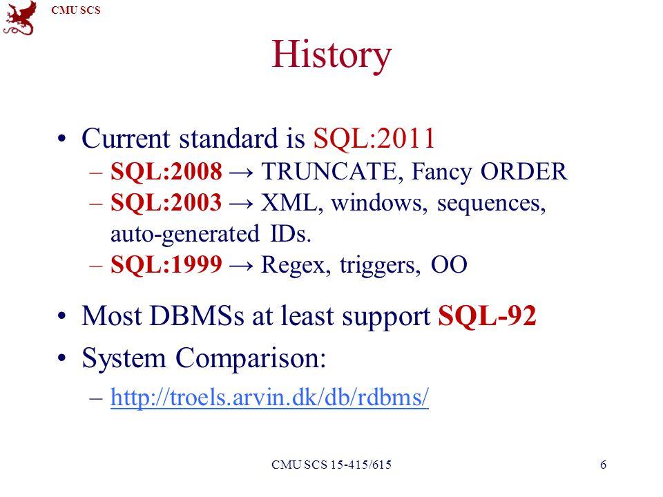 CMU SCS History Current standard is SQL:2011 –SQL:2008 → TRUNCATE, Fancy ORDER –SQL:2003 → XML, windows, sequences, auto-generated IDs. –SQL:1999 → Re