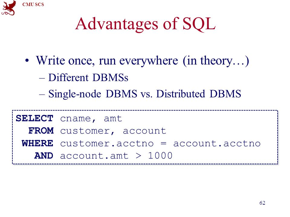CMU SCS Advantages of SQL Write once, run everywhere (in theory…) –Different DBMSs –Single-node DBMS vs.