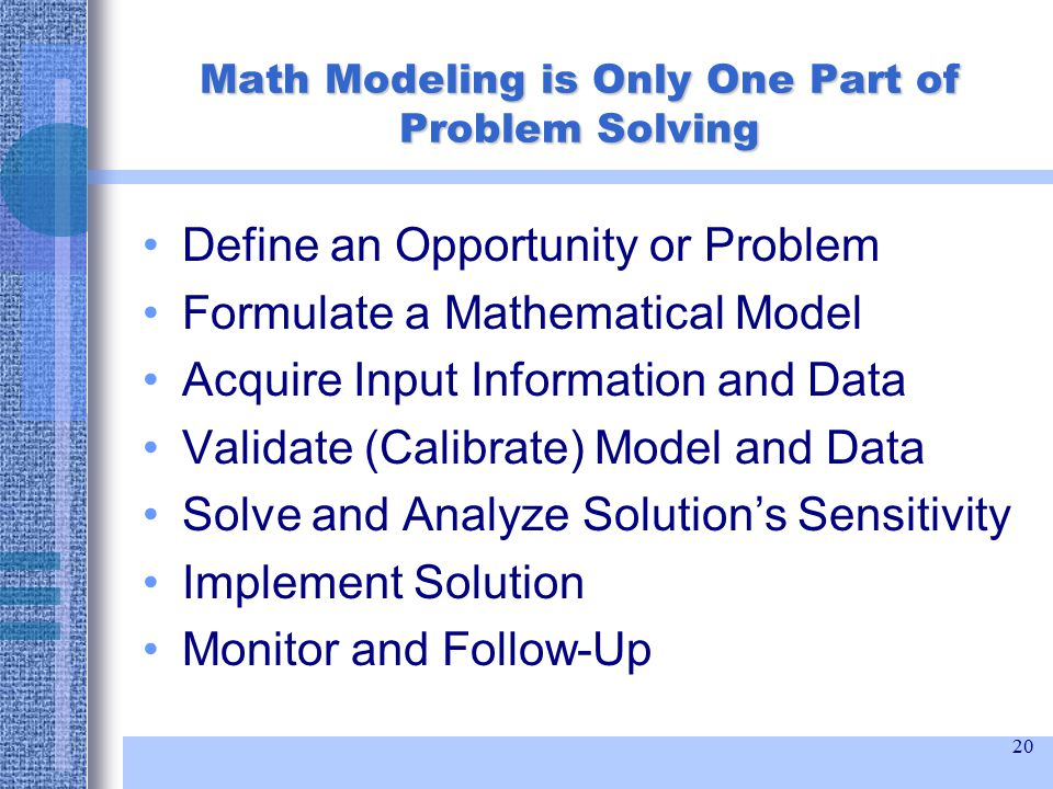 20 Math Modeling is Only One Part of Problem Solving Define an Opportunity or Problem Formulate a Mathematical Model Acquire Input Information and Data Validate (Calibrate) Model and Data Solve and Analyze Solution's Sensitivity Implement Solution Monitor and Follow-Up