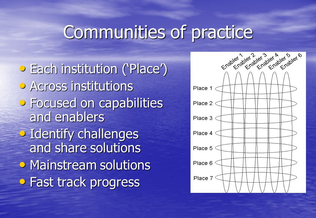 Communities of practice Each institution ('Place') Each institution ('Place') Across institutions Across institutions Focused on capabilities and enablers Focused on capabilities and enablers Identify challenges and share solutions Identify challenges and share solutions Mainstream solutions Mainstream solutions Fast track progress Fast track progress