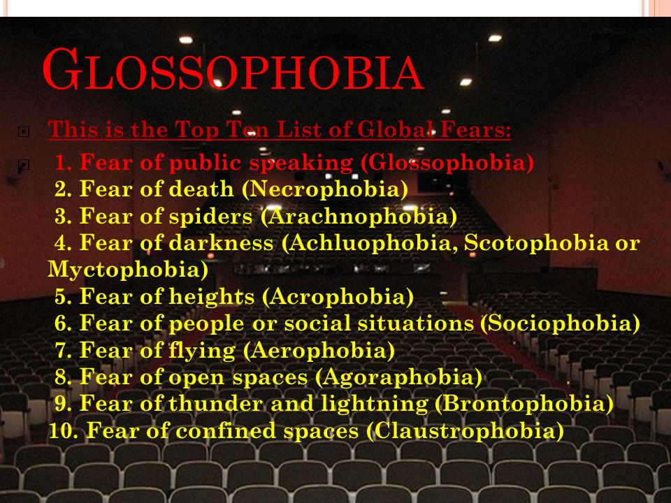 G LOSSOPHOBIA  This is the Top Ten List of Global Fears:  1.