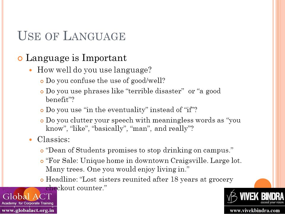 U SE OF L ANGUAGE Language is Important How well do you use language.