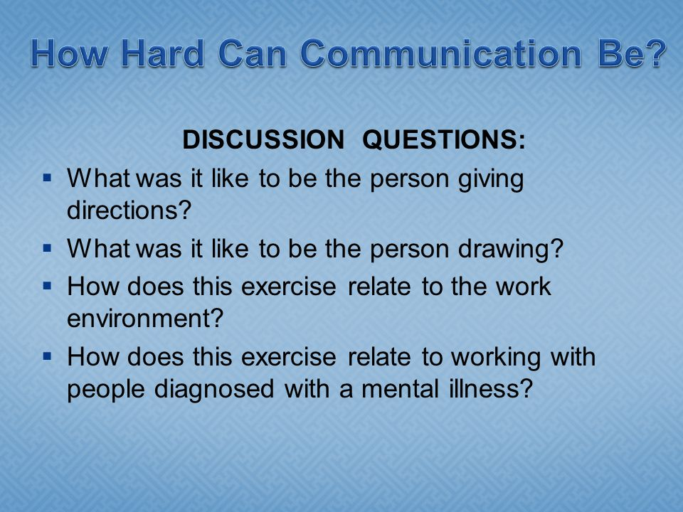 DISCUSSION QUESTIONS:  What was it like to be the person giving directions.