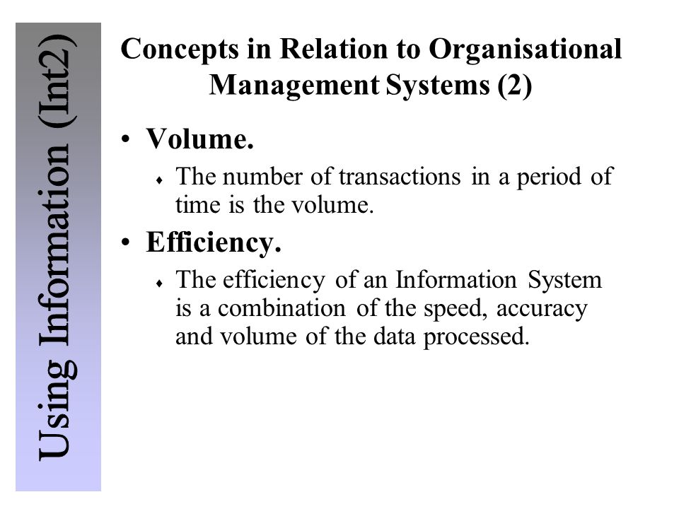 Concepts in Relation to Organisational Management Systems (2) Volume.