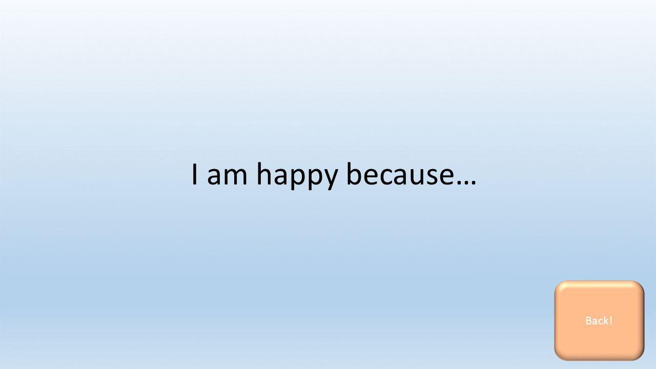 I am happy because… Back!