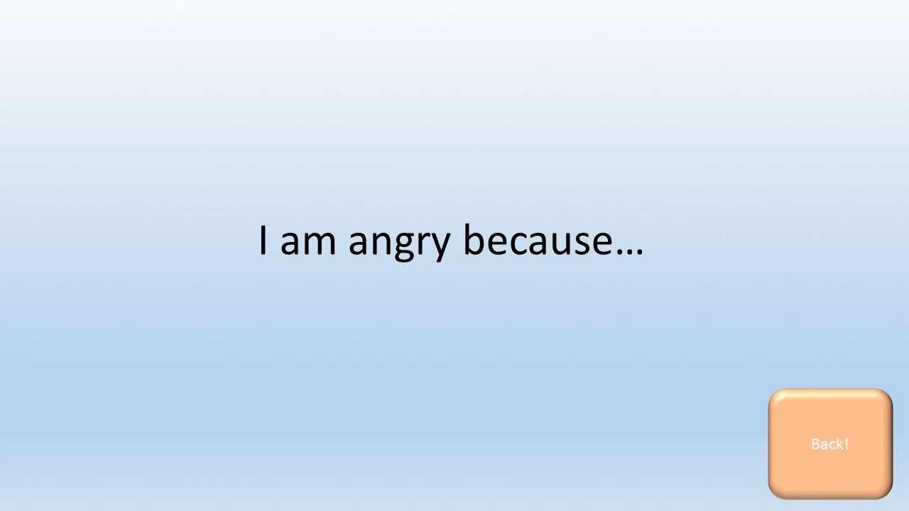 I am angry because… Back!