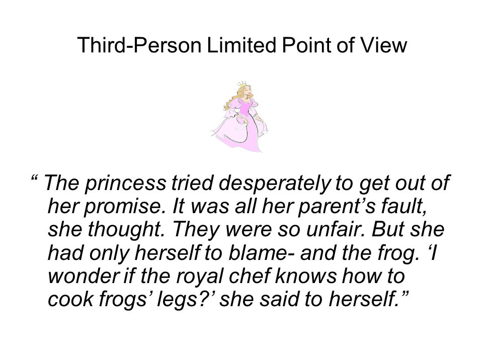 Third-Person Limited Point of View The princess tried desperately to get out of her promise.