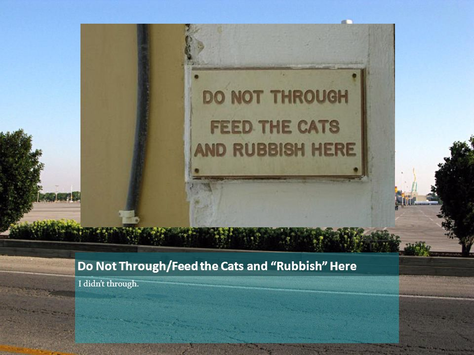 Do Not Through/Feed the Cats and Rubbish Here I didn't through.