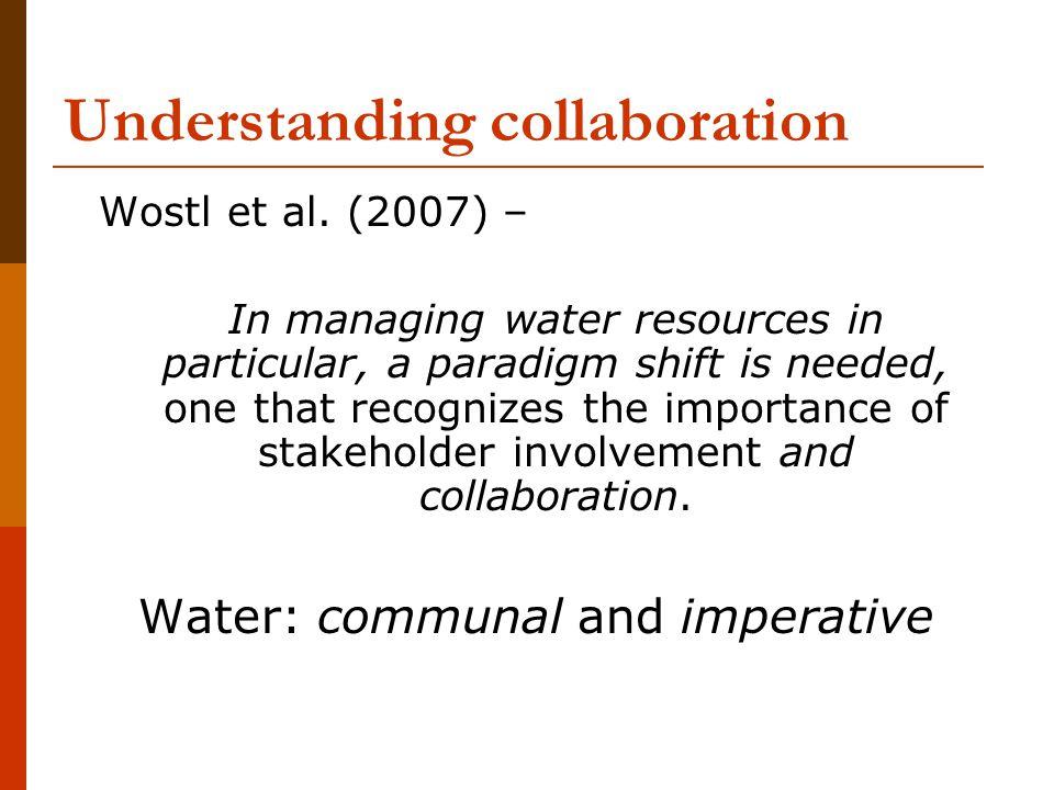 Understanding collaboration Wostl et al.