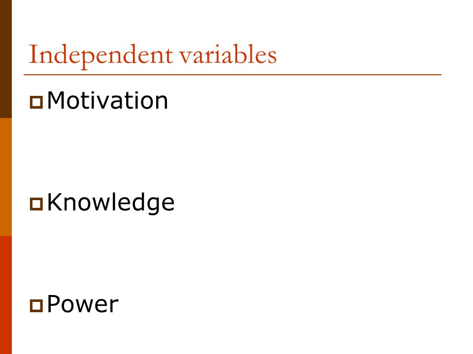 Independent variables  Motivation  Knowledge  Power