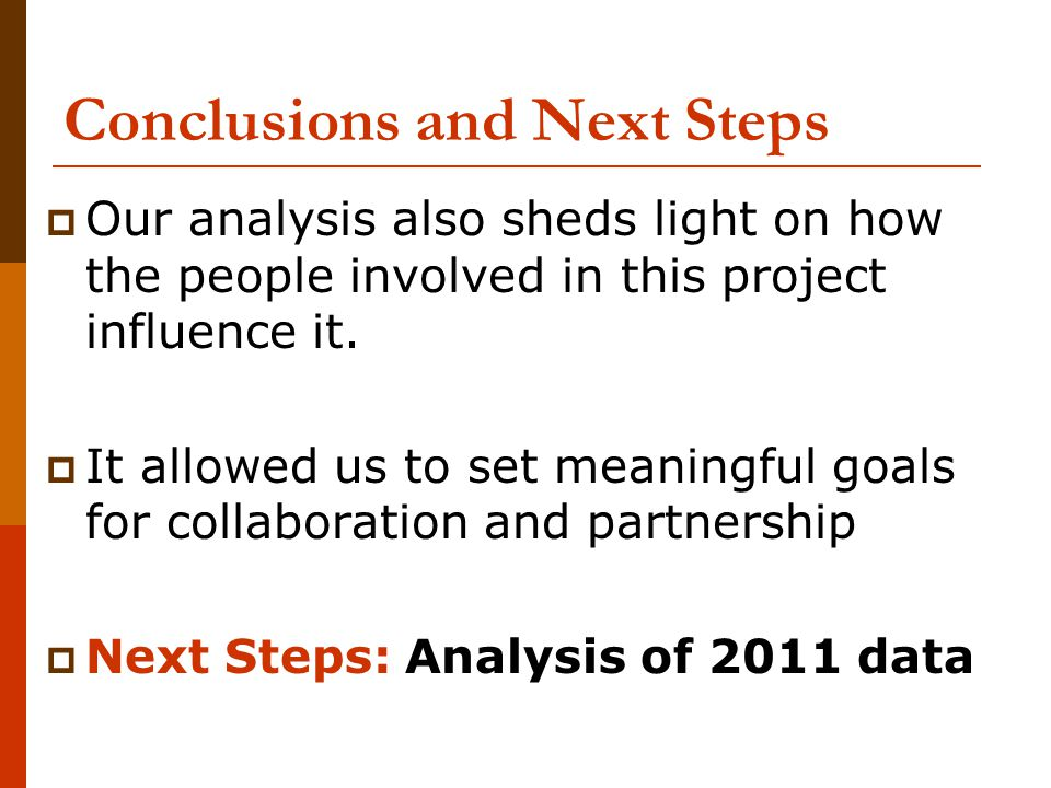 Conclusions and Next Steps  Our analysis also sheds light on how the people involved in this project influence it.