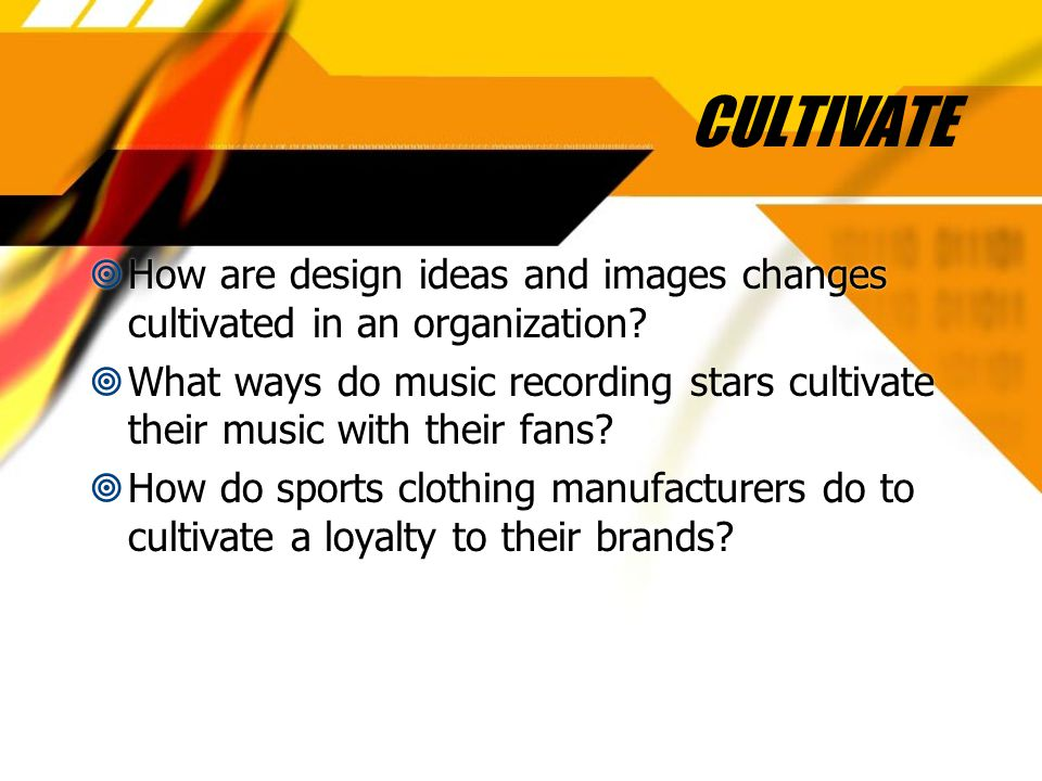 CULTIVATE  How are design ideas and images changes cultivated in an organization.