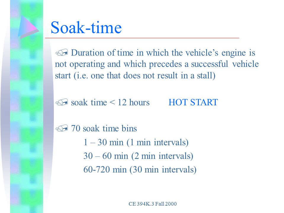 Soak-time / Duration of time in which the vehicle's engine is not operating and which precedes a successful vehicle start (i.e.