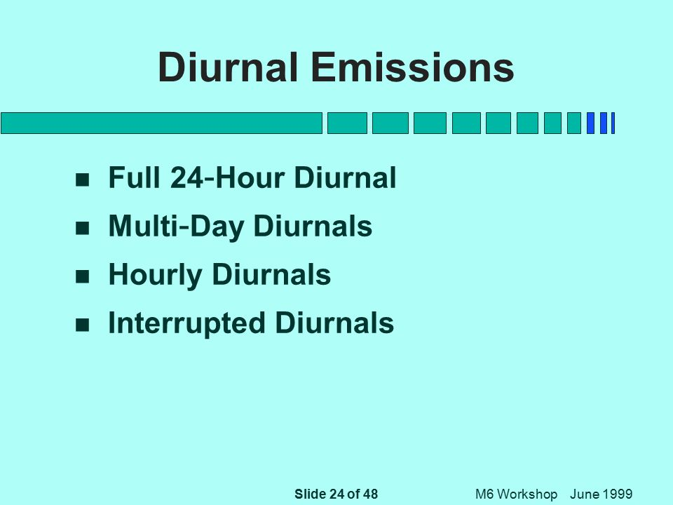 Slide 24 of 48 M6 Workshop June 1999 Diurnal Emissions n Full 24 - Hour Diurnal n Multi - Day Diurnals n Hourly Diurnals n Interrupted Diurnals