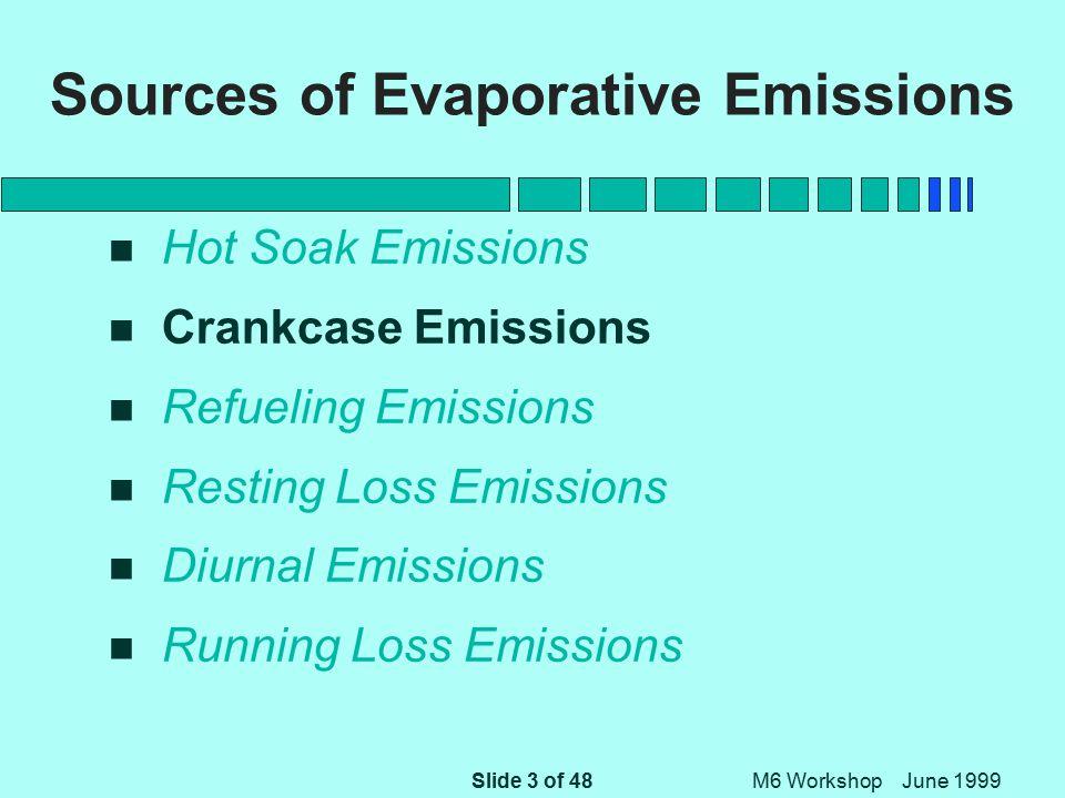 Slide 3 of 48 M6 Workshop June 1999 Sources of Evaporative Emissions n Hot Soak Emissions n Crankcase Emissions n Refueling Emissions n Resting Loss Emissions n Diurnal Emissions n Running Loss Emissions