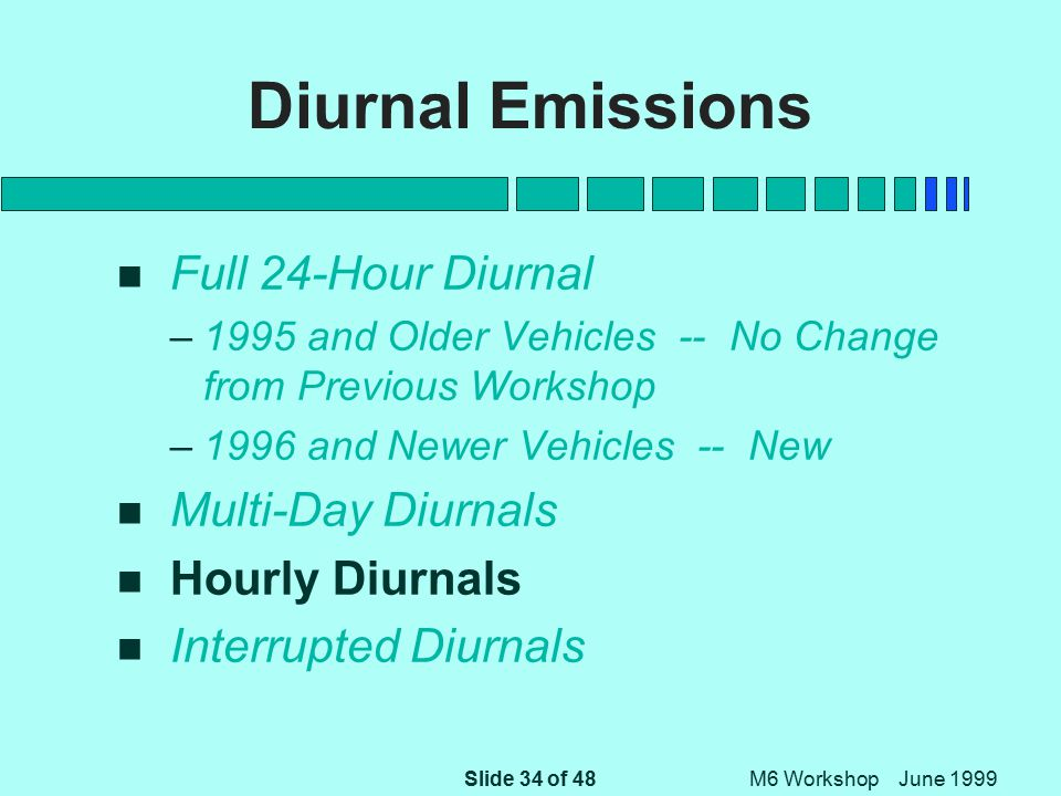 Slide 34 of 48 M6 Workshop June 1999 Diurnal Emissions n Full 24-Hour Diurnal –1995 and Older Vehicles -- No Change from Previous Workshop –1996 and Newer Vehicles -- New n Multi-Day Diurnals n Hourly Diurnals n Interrupted Diurnals