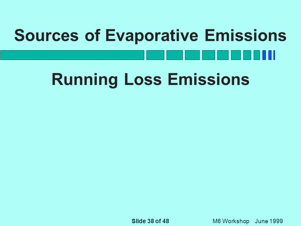 Slide 38 of 48 M6 Workshop June 1999 Sources of Evaporative Emissions Running Loss Emissions