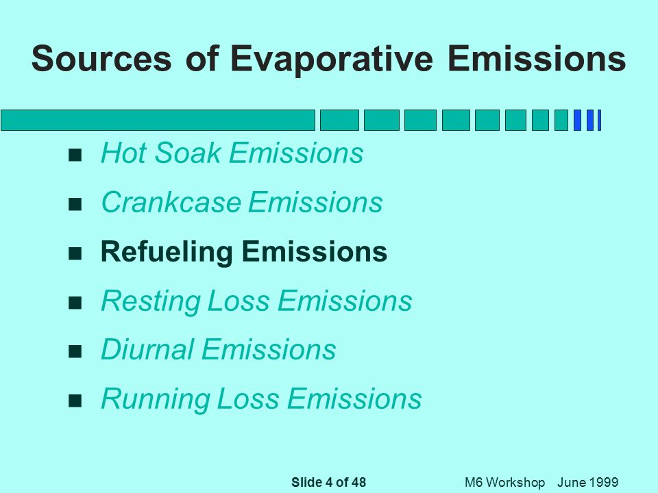 Slide 45 of 48 M6 Workshop June 1999 Running Loss Emissions Proposals for MOBILE6 n For Vehicles Not Gross Liquid Leakers, Use MOBILE5 Predictions Within Each Purge/Pressure Stratum n Weight Those Three Strata With the New Stratum of Gross Liquid Leakers