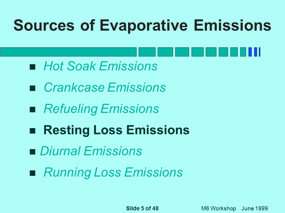 Slide 5 of 48 M6 Workshop June 1999 Sources of Evaporative Emissions n Hot Soak Emissions n Crankcase Emissions n Refueling Emissions n Resting Loss Emissions n Diurnal Emissions n Running Loss Emissions