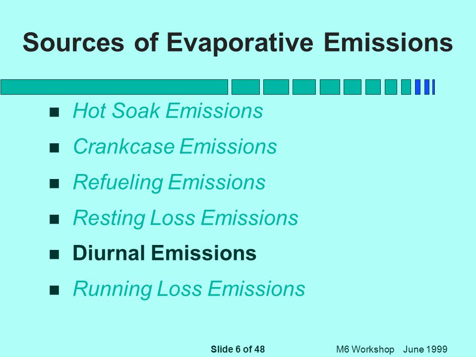 Slide 6 of 48 M6 Workshop June 1999 Sources of Evaporative Emissions n Hot Soak Emissions n Crankcase Emissions n Refueling Emissions n Resting Loss Emissions n Diurnal Emissions n Running Loss Emissions