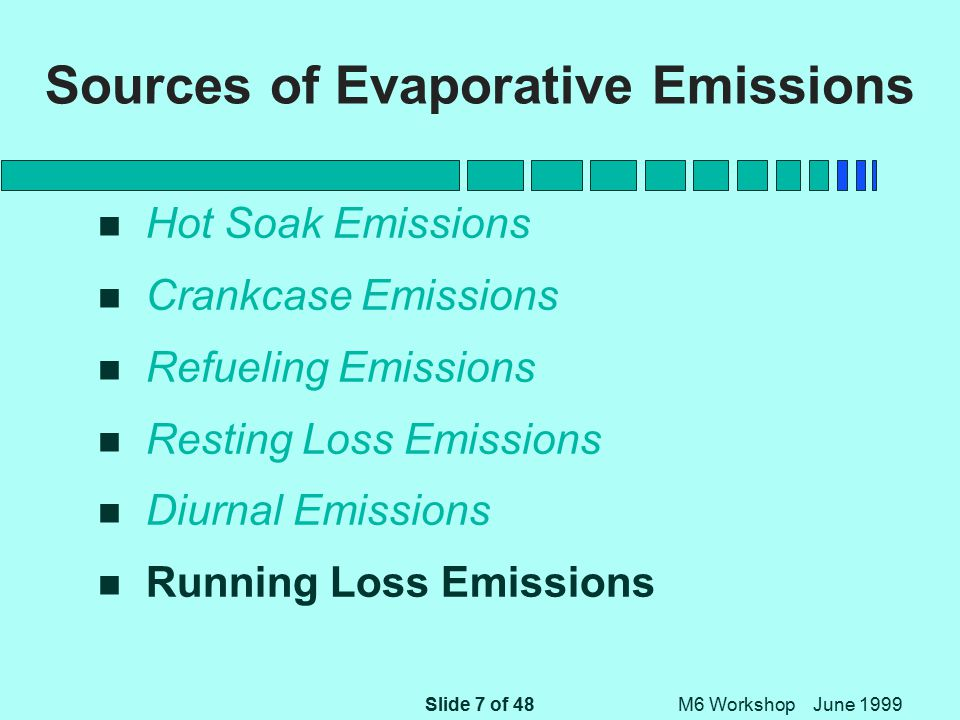 Slide 48 of 48 M6 Workshop June 1999 References (Continued) n M6.EVP.007 -- Hot Soak Emissions as a function of Soak Time n M6.EVP.008 -- Estimating Running Loss Evaporative Emissions in MOBILE6 n M6.EVP.009 -- Evaporative Emissions of Gross Liquid Leakers in MOBILE6