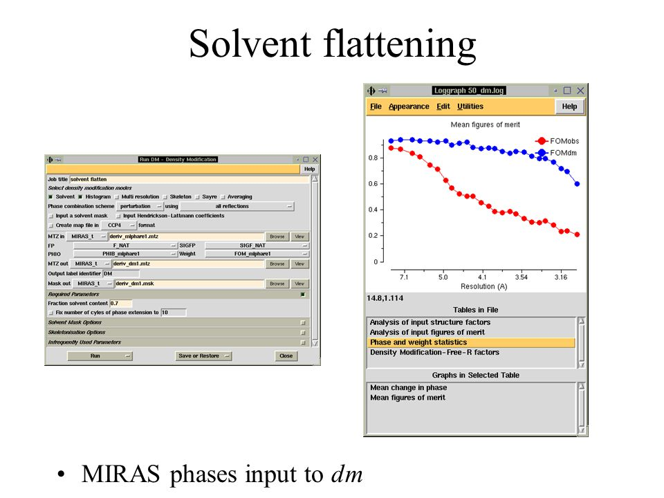 Solvent flattening MIRAS phases input to dm