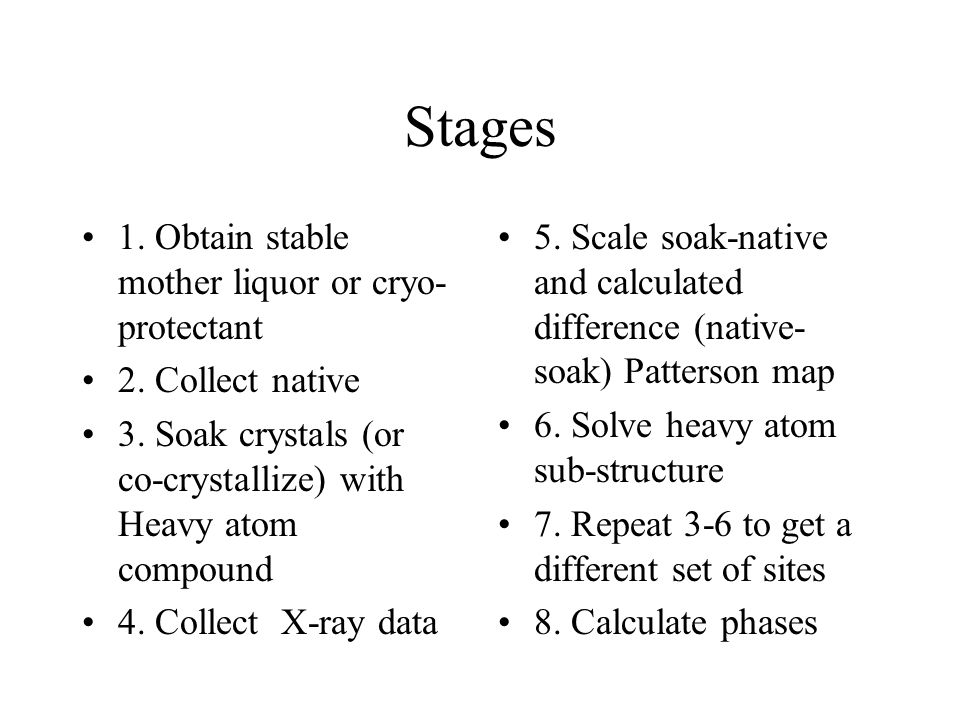 Techniques Be aware of properties of HA salt (eg Silver Nitrate-Cl, Mercury Iodide/KI, Platinum tetra chloride) Crystallization conditions Protein Chemistry Be systematic Soak concentrations 1- 5mM, time overnight Soak HA in last Make native comparable Backsoak to remove non-specific sites or manipulate existing sites