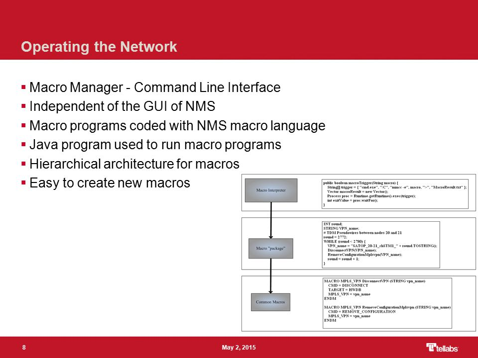 8 May 2, 2015 Operating the Network  Macro Manager - Command Line Interface  Independent of the GUI of NMS  Macro programs coded with NMS macro language  Java program used to run macro programs  Hierarchical architecture for macros  Easy to create new macros